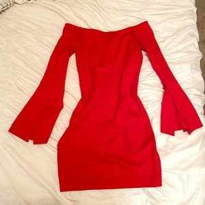 LULUS fitted red off- the- shoulder dress